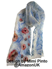 Handcrafted Floral Scarf by Mimi Pinto (MimiPintoArt) Tags: handmade scarves scarf felt felted felting nuno gift idea bespoke ooak unique floral botanical fiber art sketch book poppies remembrance birthday anniversary thanksgiving gifts