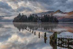 Derwent Water Two (gmorriswk) Tags: keswick england unitedkingdom gb derwentwater derwent water lake district long exposure fog foggy mist misty landscape hill montains mountain formatt hitech hills firecrest fence trees reflection refections sunrise