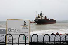 Kuzma Minin - 6 (Kernow Rail Phots) Tags: kuzmaminin russian 16000 ton cargo ship freighter falmouth cornwall kernow 18122018 gales rain heavyseas ap tugs ships boats gyllingvase beach sign