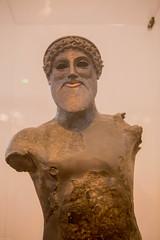Bronze statuette of Poseidon (soumit) Tags: nationalarchaeologicalmuseum foundinsea gulfoflivadostra portofplataiai 2018 boeotia kreusis athens bronze dolphin greece june poseidon statuette trident