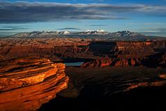 Utah Sunset (Bernie Duhamel) Tags: lasalmountains deadhorsepointstatepark moab utah sunset mountains snow winter shadows canyon canyonlandsnationalpark greatphotographers teamsony bernie duhamel sonya7riii sony2470mm