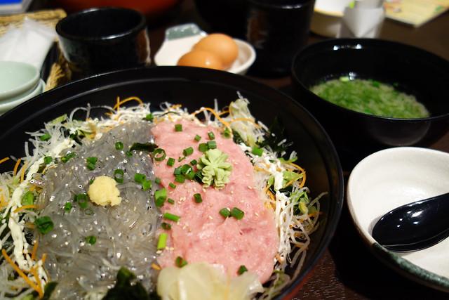 とびっちょの生しらすとネギトロ丼/江ノ島で生しらすとエスカーを堪能