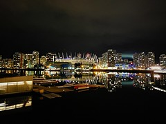 Yaletown skyline after dark (walneylad) Tags: vancouver britishcolumbia canada downtown yaletown chinatown cbd falsecreek city urban cityscape skyline night dark evening lights water reflections buildings condos towers boats marina january winter scenery view landscape clouds