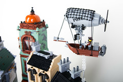 Steampunk Moon City Postship (Dwalin Forkbeard) Tags: lego moc steampunk city train railway tram colony moon cheese rocket house airship telescope elevator pf