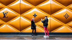 Tangoed - Explored (Sean Batten) Tags: london england unitedkingdom gb newbondstreet streetphotography street orange people candid selfie city urban fuji x100f fujifilm ysl yvessaintlaurent