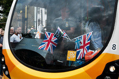 """120721 Olympic Torch 258 (hoffman) Tags: documentary reportage outside streets outdoors bow olympics security olympic torch torchbearer promotion marketing cocacola truck london uk gbr davidhoffman davidhoffmanphotolibrary socialissues stockphotos""""stock photostock photography"""" stockphotographs""""documentarywwwhoffmanphotoscom copyright"""