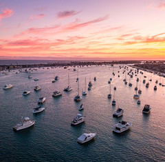 Newport Harbor (meeyak) Tags: djimavicpro dji drone aerial view newportbeach newportharbor orangecounty california usa boats sunset colors night goldenhour landscape sky clouds mikemarshall flying travel vacation outdoors