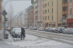 Intrepid (suzanne~) Tags: snow street munich germany bavaria winter maxvorstadt bicycle snowinthecity