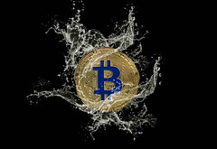 Golden Bitcoin and water splash on dark background (wuestenigel) Tags: market water splash background bitcoin finance coin bear money mining digital bussiness broken bullmarket crash cryptocurrency btc symbol desktop sign zeichen noperson keineperson illustration design disjunct disjunkt shape gestalten abstract abstrakt shining leuchtenden image bild text banner bright hell