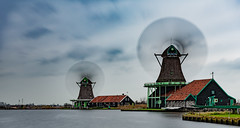 Zaanse Schans... (Aleem Yousaf) Tags: zaanse schans dutch zaandam zaandijk netherlands nederlands blur motion long exposure nikkor nikon 2470mm neutral density little stopper historic windmills houses windows zaanstreek relocation museum river zaan sconce weavers cooperage jisper albert heijn amsterdam travel tourist attraction digital camera outdoor world rural countryside sky clouds drag overcast me fun flickr explore photography photo walk walking happy outside history public