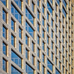 Windows of Opportunity (Paul Brouns) Tags: perspective architecture architectuur architektur архитектура amsterdam abstract abstractarchitecture bricks windows lines linear paulbrouns paulbrounscom photography photographic art square limited edition blue sky goldenhour depth repetitive repetition rhythm autumn sun