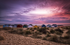 Front Row Seat (Tracey Whitefoot) Tags: 2019 tracey whitefoot january southwold suffolk coast coastal sunrise dawn beach low tide seaside huts seascape front row seat