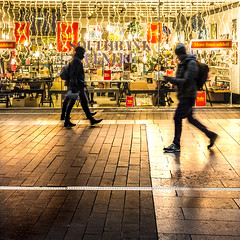 More Lines Added (DobingDesign) Tags: streetphotography lighting shop shopping pedestrians shadow golden nightcolours nightshot night nightlife silhouette london londonstreets paving signage shopwindow text southbankcentre bargainhunter people glow goldenglow winter evening winterevening