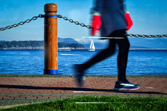 On the Other Coast of Winter (Natalia Medd) Tags: sale boat winter west coast walking ocean sea grass sky victoria girl shoes red gloves