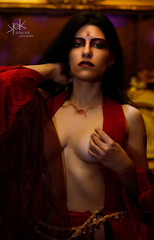 Kaileena from Prince of Persia, Boudoir Cosplay with Ailiroy (with cleavage) (SpirosK photography) Tags: braless spiroskphotography ailiroy kaileena cosplay boudoir cosplayboudoir bedroom bed sexy lingerie costumeplay ailiroyartsandcrafts photoshoot red legs game videogame videogamecharacter warriorwithin cleavage yellow