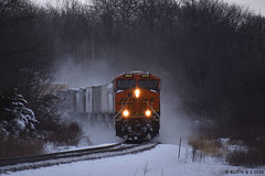 Kicking Up November Snow (R.G. Five) Tags: bnsf aurora sub white pines state park z train 6929 es44c4 railroad snow mt mount morris