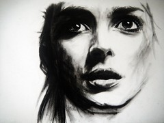 INTERRUPTED (version 1) (Sketchbook0918) Tags: winonaryder female actor actress artist portrait charcoal drawing emotional expressive cinematic thoughtful dramatic paper art fineart realism