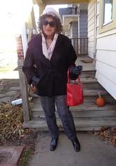 Now I Am Ready To Meet The World! (Laurette Victoria) Tags: coat gloves purse hat curly woman laurette pants booties porch