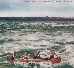 """UP Sault St. Marie MI AMUSEMENT 1909 A WILD CANOE RIDE ON THE ST MARYS RIVER RAPIDS and Hey WHERE ARE THEIR LIFE JACKETS Betcha that Canoe Charter is not USCG APPROVED1 (UpNorth Memories - Donald (Don) Harrison) Tags: vintage antique postcard rppc """"don harrison"""" """"upnorth memories"""" upnorth memories upnorthmemories michigan history heritage travel tourism restaurants cafes motels hotels """"tourist stops"""" """"travel trailer parks"""" cottages cabins """"roadside"""" """"natural wonders"""" attractions usa puremichigan """" """"car ferry"""" railroad ferry excursion boats ships bridge logging lumber michpics uscg uslss"""