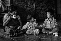 Happy moments (karmajigme) Tags: family boys childhood joy village bhutan himalaya travel monochrome bw noiretblanc blackandwhite