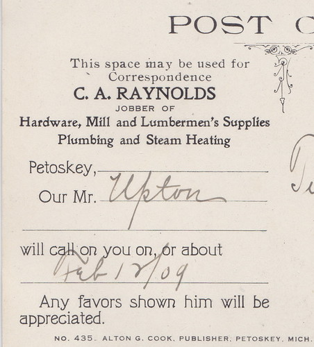 NW Bellaire MI 1909 Advertising Card from the CA Reynolds Company selling Hardware Mill and LUMBERMANS SUPPLIES Plumbing & Heating too STEAMER SS MISSOURI OUTBOUND AT PETOSKEY2