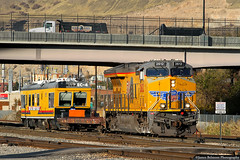 Putting EC-4 to Bed (jamesbelmont) Tags: unionpacific et44ah ge saltlakecity trackinspectionvehicle ec4 northyard newextension flatcar