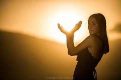 Beautiful sunset (Sandro Gherbassi 1968) Tags: sunset sun girl hand brunette silhouette italia italy italian dress young portrait beautiful younggirl