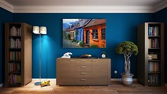 This room's colors are absolutely stunning! the painting stands perfectly in contrast with the blue wall, The bonsai tree, the stand lamp....wow #lamp #lighting #bonsai #interior123 #interior2you #interior125 #passion4interior #roomforinspo #interior9508 (CoolHomeStyling) Tags: instagram ifttt