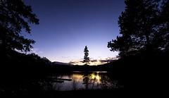 Sunset at Lake Pyramid .... (Rockin' Daddy) Tags: jasper jaspernationalpark canadianrockies canada rockymountains sunset trees lake alberta rockies sky