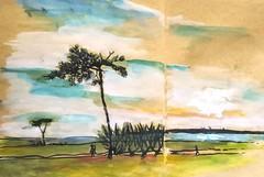 Au bord de mer. Kerpape. (cecile_halbert) Tags: paysage croquis aquarelle stylobille encre nature lanscape sketch sketchbook watercolor borddemer seaside ink