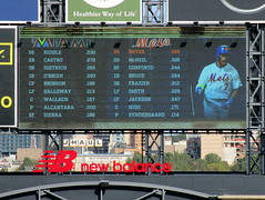 Citi Field, 09/30/18 (NYM v MIA): today's starting lineups as shown on the right field scoreboard - the orange text on the Mets' lineup scrolls down, highlighting each player's name and showing a photo of that player (IMG_4422a) (Gary Dunaier) Tags: ballparks baseball stadiums stadia mets newyorkmets flushing queens newyorkcity queenscounty queensboro queensborough citifield