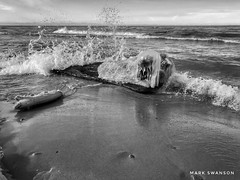 Ice and water (mswan777) Tags: mobile iphone iphoneography apple white black ansel monochrome driftwood michigan stevensville horizon sky wet sand beach shore coast wave water scenic seascape outdoor