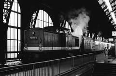 Hbf.(Station) Dresden 1991 (Drehscheibe) Tags: nikonf2 nikkor50mm 35mm film hp5plus bahnhof blackwhite train ilfordhp5 ilford