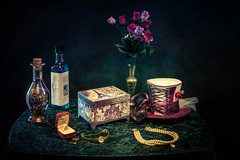 The Lady's table (Johnny_7) Tags: lady table box paris vase flower still life hat perfume necklace watch rings