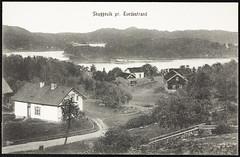 postkort (Avtrykket) Tags: bolighus fjord hus postkort uthus vei tvedestrand austagder norway nor