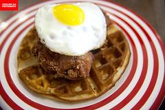 Stinky Har Cheong Gai Waffle (APERTURE X & THE CULINARY ADVENTURER) Tags: food singapore bistrocafe breakfast friedchicken waffle fermentedshrimppasteharcheonggai egg