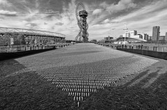 Shrouds Of The Somme by Rob Heard (cocabeenslinky) Tags: shrouds of the somme by rob heard november 2018 ww1 world war one startford queen elizabeth olympic park east london eastlondon england uk eastend end city capital photos photography panasonic lumix dmcg9 g vario ©cocabeenslinky united kingdom olympus lens rememberence lest we forget 19182018 centenary black and white blackwhite blackandwhite british commonwealth servicemen killed battleofthesomme thiepval memorial art instalation 72396 stadium west ham football premier league calico stiched sewn small figures representation arcelormittal orbit