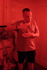 Philpot jam party (Gary Kinsman) Tags: fujix100t fujifilmx100t e1 whitechapel 2018 eastlondon party houseparty london late night evening highiso people person eastend candid unposed red availablelight ambientlight talking dance dancing redlight