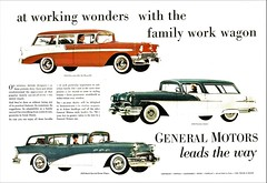 1956 GM Station Wagons (aldenjewell) Tags: 1956 chevrolet bel air beauville pontiac safari buick special estate wagon station gm general motors ad