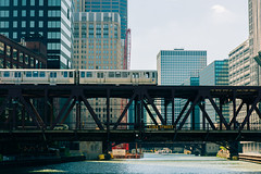River Crossing (vandusenerik) Tags: chicago train city river cta water blue buildings architecture bridge lake street windy nikon d800 vacation urban travel movement nikkor 2401200mm