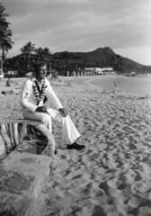 Waikiki, Hawaii (jericl cat) Tags: waikiki hawaii vintage photo photograph history snapshot honolulu diamondhead sailor portrait beach sand broad married lei sunset