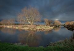 Sky (paullangton) Tags: hertford hertfordshire river trees sunset nature landscape clouds storm winter bridge reflection light warm blue green