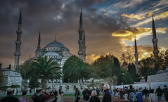 The Blue Mosque (Leaning Ladder) Tags: istanbul turkey mosque bluemosque dome minaret landmark architecture sky light clouds canon xsi leaningladder
