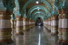 Southern India Tour (Kev Gregory (General)) Tags: mysore palace historical royal residence indian state karnataka official wadiyar dynasty seat kingdom chamundi hills gregory canon 6d mark ii old fort india kev hindu ancient audience hall marble room pillars palaces arch turquoise colour regal refined gold reflection