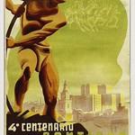 4º Centenario de Santiago. Afiche de Lupercio Arancibia, 1941. thumbnail