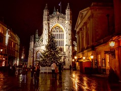 Bath Abbey and Roman Baths (Nige H (Thanks for 15m views)) Tags: city cityofbath bath england christmas christmastree abbey bathabbey wet wetreflections romanbaths