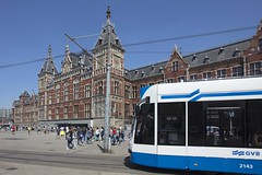 Centraal railway station in Amsterdam (SkylineScenes (Bill Cobb)) Tags: europe netherlands amsterdam architecture city cityscape downtown dutch holland lightrail railway skyline station streetcar train tram transit urban