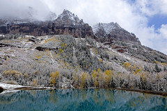 Cold and frosty (BDFri2012) Tags: telluride mountains stormy storm snow trees fallcolor fallcolors fall pond clouds cloudy water reflection aspentrees landscape fog