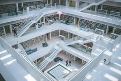 people walking inside Stuttgart City Library