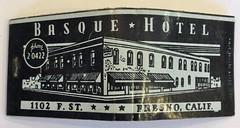 BASQUE HOTEL FRESNO CALIF (ussiwojima) Tags: basquehotel hotel fresno california advertising matchbook matchcover